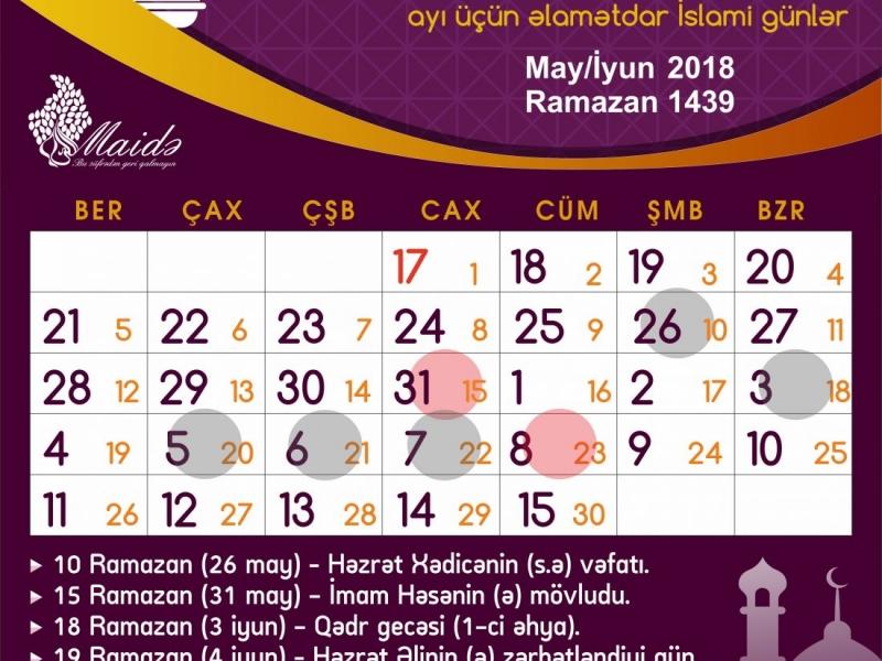 Ramazan ayı üçün əlamətdar İslami günlər
